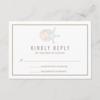 Seaside Pastels Wedding RSVP Response