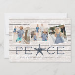 "Seaside Peace | Holiday Photo Collage Card<br><div class=""desc"">Beachy holiday photo card with a rustic flair features three square photos in a collage layout on a light wood plank background, with ""peace"" beneath in soft navy blue lettering. A starfish takes the place of the letter ""A"" for a cute coastal touch. Personalize with your names, the year, and...</div>"