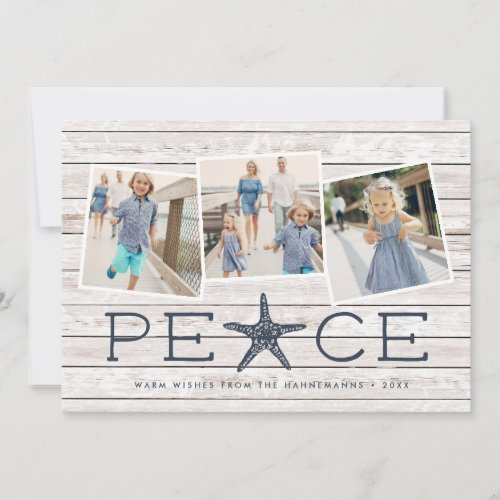 Seaside Peace  Holiday Photo Collage Card
