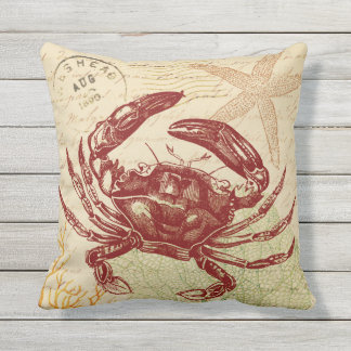 Seaside Red Crab Collage Outdoor Pillow