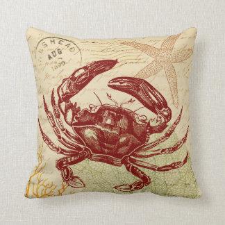 Seaside Red Crab Collage Throw Pillow