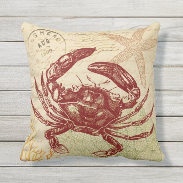 Beach Themed Seaside Red Crab Collage Throw Pillow