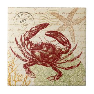 Seaside Red Crab Collage Tile