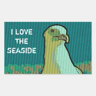 Seaside seagull rectangular sticker