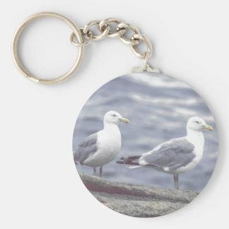 Seaside Seagulls Button Keychain