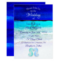 Seaside Seahorses Blue Beach Wedding invitations