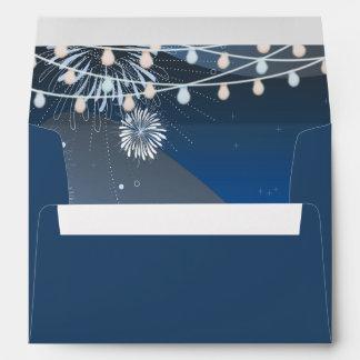 Seaside Summer Evening Lights & Fireworks Wedding Envelopes