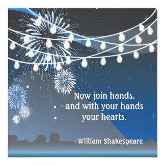 "Seaside Summer Evening Lights & Fireworks Wedding 5.25"" Square Invitation Card"
