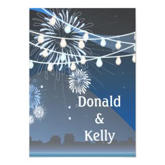 "Seaside Summer Evening Lights & Fireworks Wedding 5"" X 7"" Invitation Card"