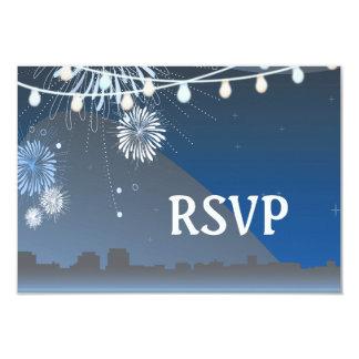 "Seaside Summer Evening Lights & Fireworks Wedding 3.5"" X 5"" Invitation Card"
