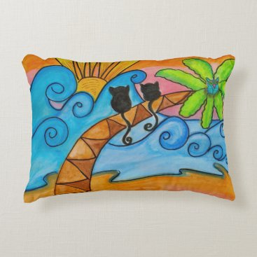 Beach Themed Seaside Sunrise, Accent Pillow, Cats, Boho, Beach Accent Pillow