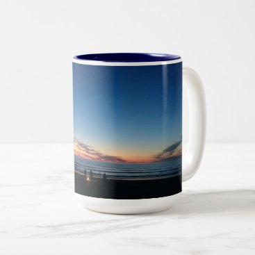 Beach Themed Seaside sunset. Night fishing with the boys Two-Tone Coffee Mug