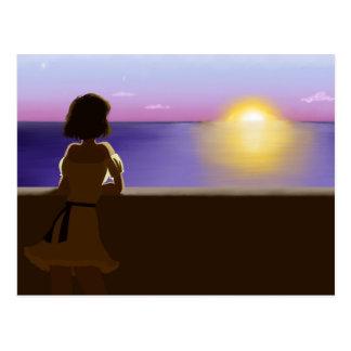 Seaside sunset postcard