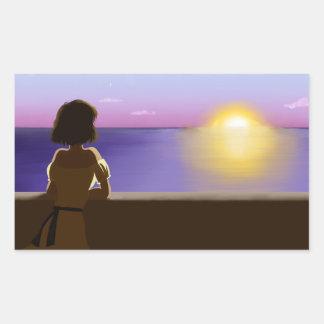 Seaside sunset rectangular stickers