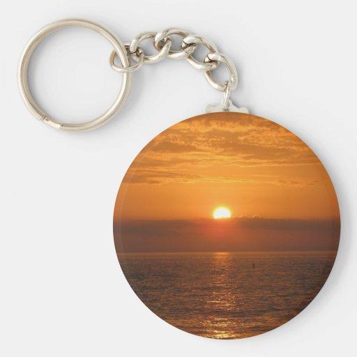 Seaside Sunset Reflection Basic Round Button Keychain