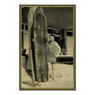 Seaside surfing in hawaii Vintage Surf Sports Fan Poster