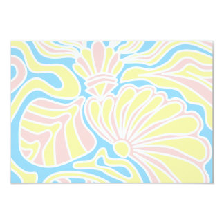 """Seaside Themed Design in Pastel Colors. 3.5"""" X 5"""" Invitation Card"""