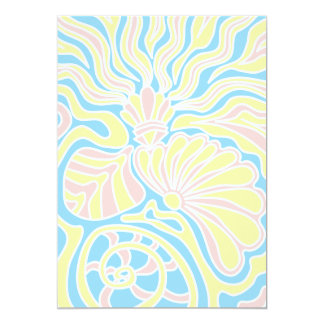 """Seaside Themed Design in Pastel Colors. 5"""" X 7"""" Invitation Card"""
