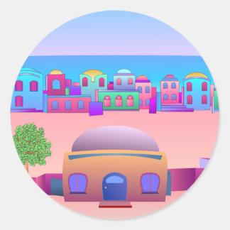 Seaside Town Classic Round Sticker