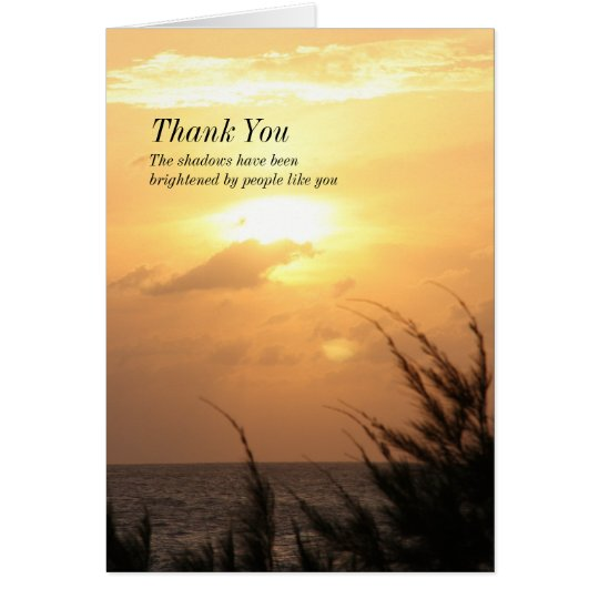 Seaside Tranquil Sunset Thank-You for Sympathy Card