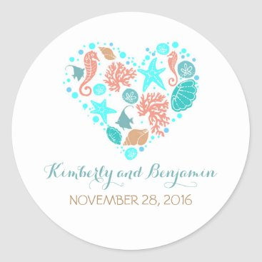 Beach Themed Seaside Treasures Pearls Heart Nautical Wedding Classic Round Sticker