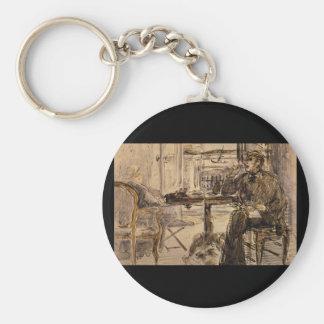 Seaside Villa', Edouard_Studies of the Masters Basic Round Button Keychain