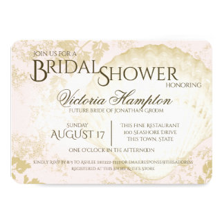 Seaside Vintage Beach Pink Blush Bridal Shower Card