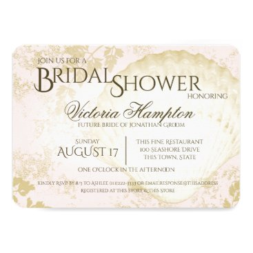 Beach Themed Seaside Vintage Beach Pink Blush Bridal Shower Card