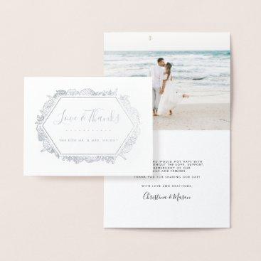 Wedding Themed Seaside | Wedding Photo Thank You Foil Card