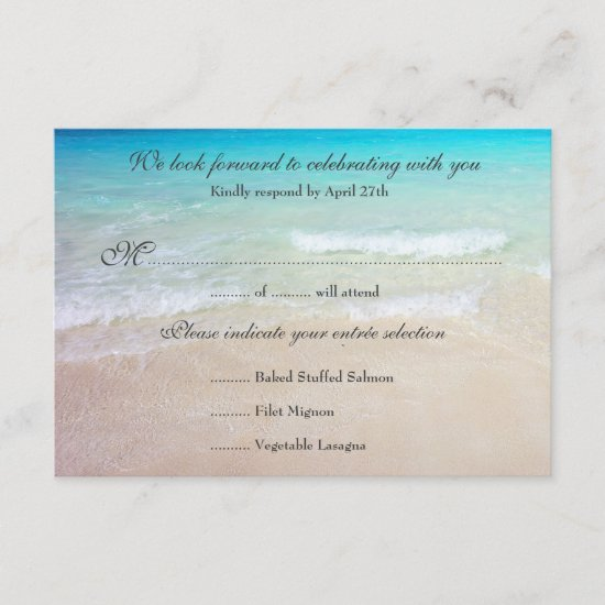 Seaside Wedding Reply Exact Guest Count Menu