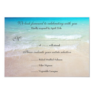 Seaside Wedding Reply Exact Guest Count Menu Card