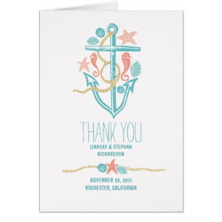Seaside wedding thank you cards