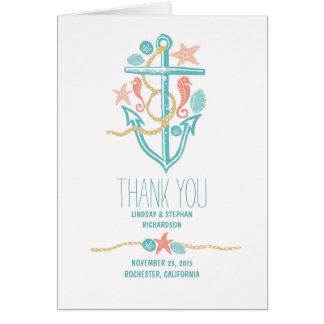 Seaside wedding thank you cards