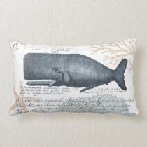 Seaside Whale Collage in Navy and Sand Lumbar Pillow