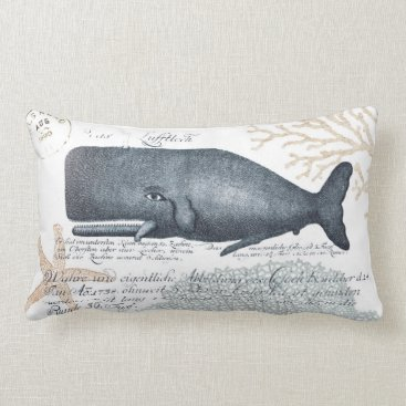 Beach Themed Seaside Whale Collage in Navy and Sand Lumbar Pillow