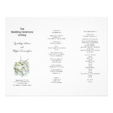 Beach Themed Seaside White Hydrangea n Starfish Wedding Program