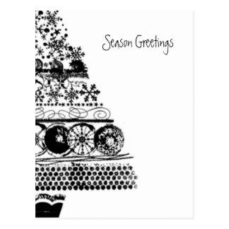 season greeting christmas sketch postcard