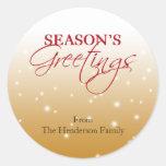 Season Greeting tan falling snow holiday gift tag Round Sticker