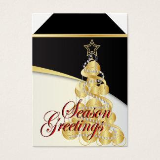 Season Greetings Gold Christmas Tree Tags