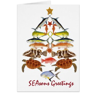 Christmas Themed Season Greetings- Ocean fish Christmas Card