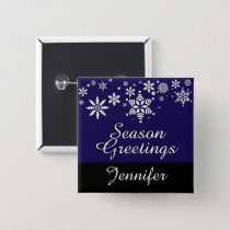 Season Greetings Personalize Holiday - Dark Blue Button