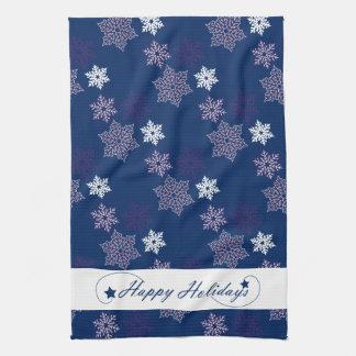Season Greetings Snowflakes on Navy Blue Towel