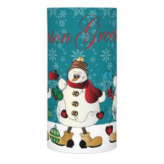 Season Greetings Snowmen Friends Flameless Candle