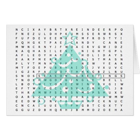 Season Greetings Word Search Card Tree