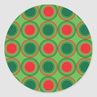 Season of Greetings Green and Red Classic Round Sticker