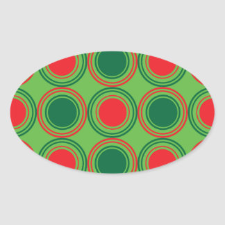 Season of Greetings Green and Red Oval Sticker