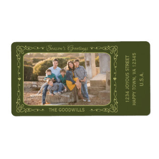 Season's Greetings Custom Photo & Text labels
