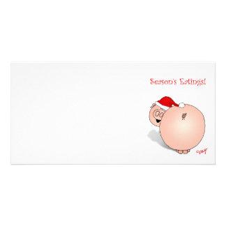 Season s Greetings Eatings Pig Cartoon Photo Greeting Card