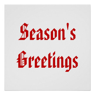 Season s Greetings Festive Red and White Custom Posters