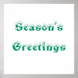Season s Greetings Green and White Custom Print